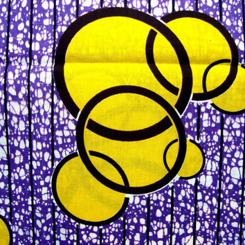 Purple with Yellow Fabric-by-the-yard African wax print batik style fabric 100% cotton, quilting fabric, Fat quarters