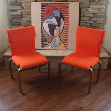 INTERLOCKING MID CENTURY Chair Pair Fabulous Vintage Bentwood Chairs with Burnt Orange Wool Upholstery & Walnut Finish - Geometric Back