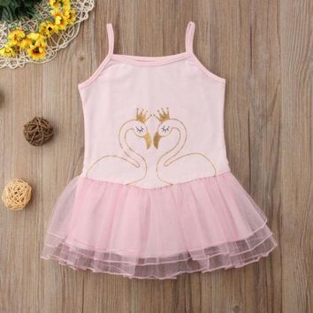 Toddler Infant Kids Baby Girls Summer Swan Sling Dress Casual Princess Girl Mesh Tulle Dance Dresses Sundress
