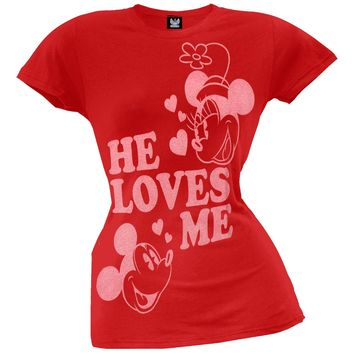Mickey Mouse - He Loves Me Juniors T-Shirt