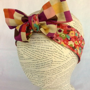 Reversible Head Wrap - Reversible Headwrap - Size Infant to Adult - Knot Tie Headband - Womens Ladies Teen Tween Toddler Infant Head Wrap -