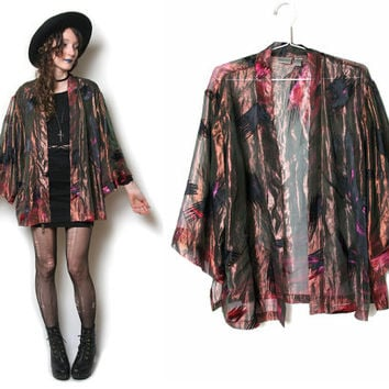 80s Abstract Sheer Duster - Kimono Duster - Sheer Blazer - Kimono Robe - Sheer Top - Iridescent - Club Kid - Grunge - Goth