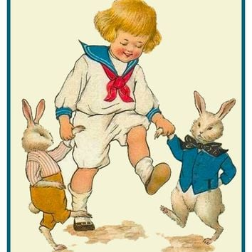 Vintage Easter Young Boy Dancing with Bunnies Counted Cross Stitch Pattern