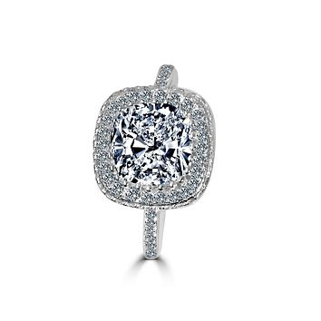 2 CT. (8x8mm) Intensely Radiant Square Cushion Center Diamond Veneer Cubic Zirconia with Halo Pave Set in Sterling Silver Modern Styling Ring. 635R0249