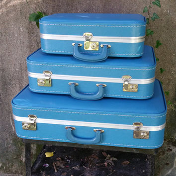 Nesting Suitcase Set of Three Eggshell Blue Vintage Stacking Suitcases
