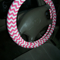 Hot Pink Chevron Steering Wheel Cover