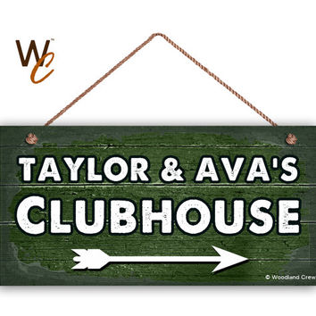 "Kid's Clubhouse Sign, Personalized Sign, Kid's Name, Kids Door Sign, Baby Nursery Wall Decor, 5"" x 10"" Sign, Dark Green Sign, Made To Order"