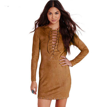 Women Faux Leather Suede Fabric  Long Sleeve V Neck Dresses