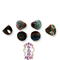HAND PAINTED WOODEN RINGS: Gypsy Rose