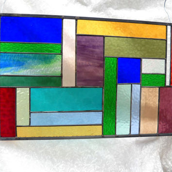 Patchwork Quilt Stained Glass Panel Window Treatment by Artfulfolk