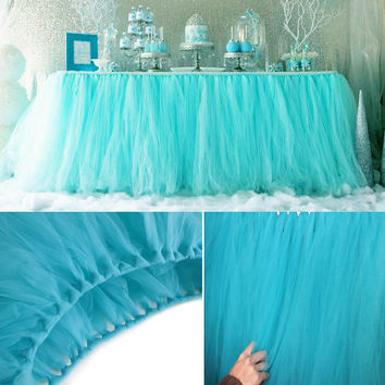 Colors 100*80cm DIY Tulle Tutu Table Skirt Tulle Baby Shower Birthday Tutu Skirts Wedding Favors Party Decoration Home Textile