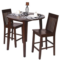 Amaretto (Brown) Finish Wood 36H Round Dining Bistro Table & 2 Pub Bar Chairs