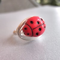 LADYBUG RING - To Order - Custom size - Red, Silver, Black, Animal, Bug, Point, Dots, Cute, Autumn, Nature, Jewelry Rings, Jewelry Kids