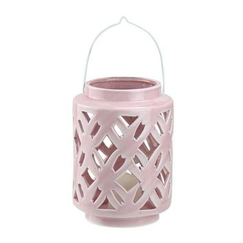 ONETOW 7' City Chic Pastel Pink Floral Cut-Out Porcelain Tea Light Candle Holder