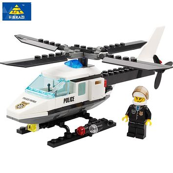 KAZI Air Force plane DIY Bricks Compatible all brand Police Helicopter Building Blocks Boy's Brinquedos Toys Kids Birthday Gift