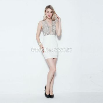 Free Shipping Plunging Neckline Backless Sexy Short Cocktail Dress Formal Party Gown robe de soiree courte In Stock