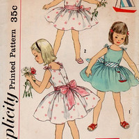 Vintage Toddler Little Girl Party Dress 1950s Simplicity Sewing Pattern Full Circle Skirt Sleeveless Tea Dress Size 6