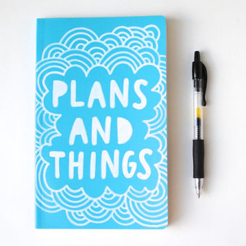 Hand Painted Moleskine, Aqua Blue Journal, Plans and Things, Hand Lettering, Lined Pages, Doodle Illustration, Ready to Ship