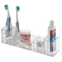 InterDesign Med+ Bathroom Medicine Cabinet Organizer, for Electric Toothbrush, Toothpaste, Vitamins, Makeup - Clear