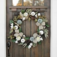 Cotton and Cream Pumpkin Wreath
