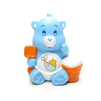 Baby Tugs Bear Ready to Shovel Some Clouds Miniature Figurine Vintage PVC Cake Topper