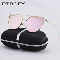2017 Best Sale Mirror Flat Lens Women Cat Eye Sunglasses rays Designer Twin-Beams Rose Gold Frame Sunglasses for Women