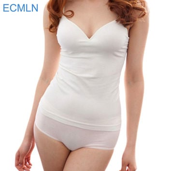 Modal Adjustable Strap Built In Bra Padded Self Mold Bra Tank Tops Camisole Free shipping