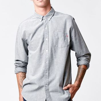 Obey Dissent Long Sleeve Oxford Button Up Shirt - Mens Shirts - Blue