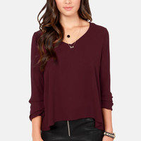 The Classics Burgundy Long Sleeve Top