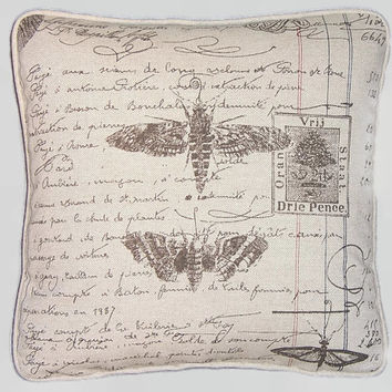 "French Script Ledger Pillow Butterflies and Moths and Insert 17"" Square Notebook Writing Bug Collection Moths Document Ready Ship"