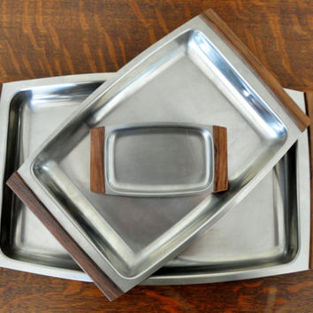 Vintage Selandia Serving Trays, Stainless Steel and Wood, Danish Modern, Scandinavian Design, Mid Century Modern, MCM
