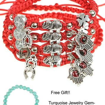 RufNTop Lucky Red String Ancient Silver Evil Protection Bracelet(set of 4)