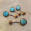 Wood and Turquoise Belly Button Jewelry Ring