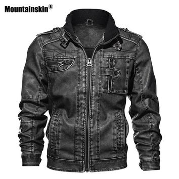 Mountainskin 7XL Men's PU Jacket Leather Coat Slim Fit Faux Leather Motorcycle Jackets Male Coats Brand Clothing SA591