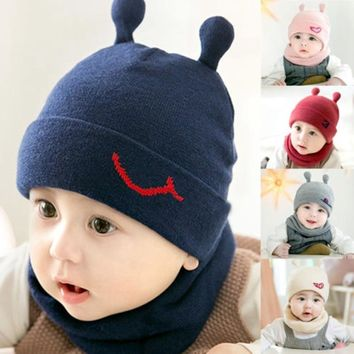 Cute Toddler Kids Baby Winter Warm Crochet Knit Hat Beanie Cap and Scarf