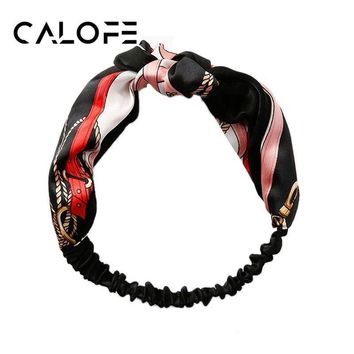CALOFE 1PC Women Vintage Head Wrap Cross Bow Hair Band Floral Patterns Headband Bandanas Elastic Head Wrap 50CM