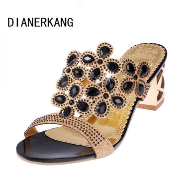 Size 35-41 New  Summer Fashion Women Big Rhinestone Cut-outs High Heel Sandals Ladies Party Shoes Woman Beach Slides L35