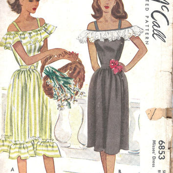 1940s Vintage McCall Printed Pattern Misses Dress Sewing Pattern McCalls 6853
