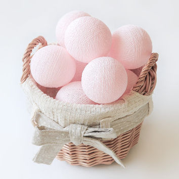 Pastel Pink 20 Handmade Cotton Ball Patio Party String Lights – Fairy, Wedding, Holiday, Home Décor