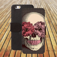 iphone 5 5s case skull flowers iphone 4/ 4s iPhone 6 6 Plus iphone 5C Wallet Case , iPhone 5 Case, Cover, Cases colorful pattern L077