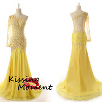 Stunning hot sale Yellow One shoulder Lace prom dress, sexy New Fashion Slim transparent prom dresses, Discount Formal Evening dresses, 9115