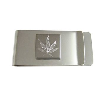 Silver Toned Etched Weed Money Clip