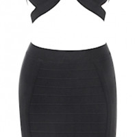 Brooke Two Piece Bandage Dress Set - Black