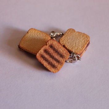 Chocolate sandwich charm, handmade with polymer clay, miniature food jewelry