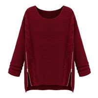 ZLYC Women's Cable Knit Pullover Jumper with Zip Detail (Red)
