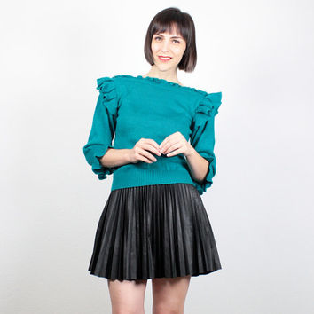 Vintage Teal Green Sweater 1980s Sweater 80s Jumper Pullover Knit Ruffle Shoulder Avant Garde Sweater New Wave Slouch Top S Small M Medium