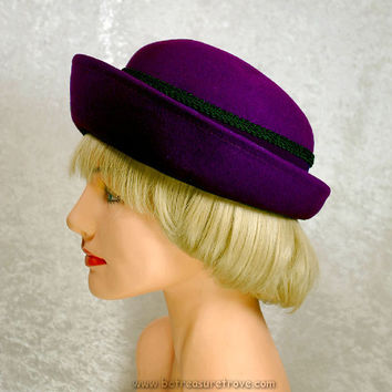 1960 Hat Plum Purple Felt Breton Vintage