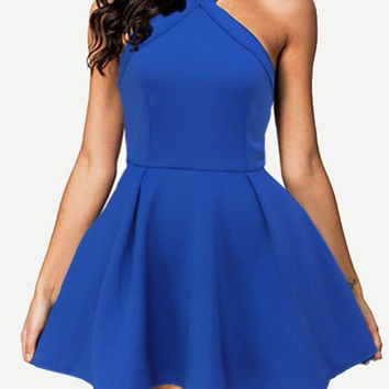 Blue Halter Ruffled Skater Dress