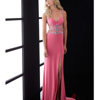Pink Chiffon & Beaded Cut Out Prom Dress