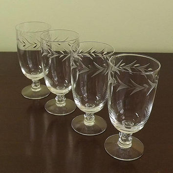 Crystal Iced Tea Glasses, Fine Crystal Stemware, Teardrop Short Stemmed Glass, Water Goblet Set, Fostoria Christmas Holly, Set of 4 Tumblers